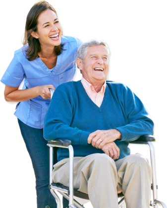 nurse and elderly man laughing